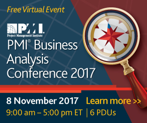 Reg open Business Analysis event.  Register now. Exclusive for PMI members.